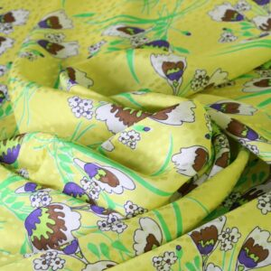 Yellow Silk, Viscose Flowers Print fabric for Dress, Shirt, Skirt.