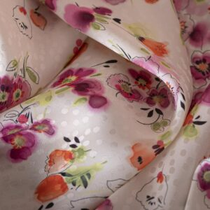 Fuxia, Orange, Pink Silk, Viscose Flowers Print fabric for Dress, Shirt, Skirt.