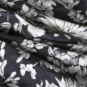Black, White Viscose Flowers Print fabric for Ceremony Dress, Dress, Skirt.