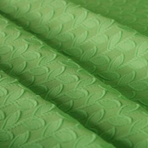 Tissu Jacquard Fleurs Vert en Coton pour Chemise, Robe.