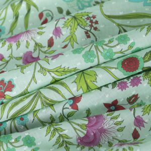 Green, Multicolor Cotton Flowers Print fabric for Dress, Shirt, Skirt.