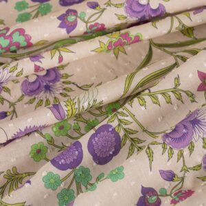 Multicolor, Pink Cotton Flowers Print fabric for Dress, Shirt, Skirt.