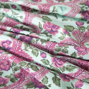 Fuxia, Green Silk Crêpe de Chine Flowers Print fabric for Dress, Pants, Shirt, Skirt.
