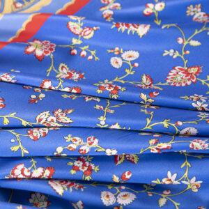 Blue, Red Silk Crêpe de Chine Flowers Print fabric for Dress, Pants, Skirt.