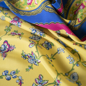 Blue, Yellow Silk Crêpe de Chine Flowers Print fabric for Dress, Pants, Skirt.