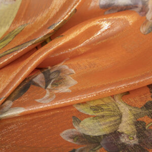 Orange, Yellow Polyester, Silk Chiffon Flowers Print fabric for Party dress.