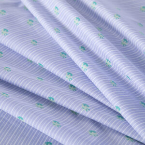 Blue, Green, White Cotton Voile Stripes Print fabric for Shirt.