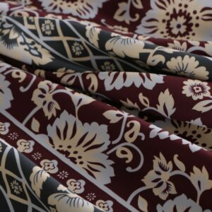 Green, Red Stretch, Viscose Flowers Print fabric for Dress, Pants, Skirt.