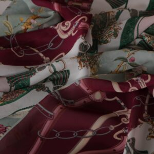 Tissu Imprimé Patchwork Blanc, Rouge, Vert en Viscose pour Chemise.