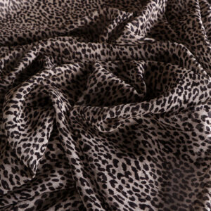 Beige, Brown Silk Georgette Animals Print fabric for Dress, Shirt.