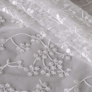 White Polyester Laces-Embroidery fabric for Wedding dress.
