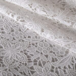 White Cotton, Polyester Laces-Embroidery fabric for Ceremony Dress, Wedding dress.