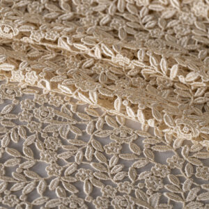 Beige Polyester, Viscose Laces-Embroidery fabric for Ceremony Dress, Party dress.