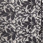 Black Polyester, Viscose Laces-Embroidery fabric for Party dress.
