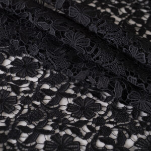 Black Polyester, Viscose Laces-Embroidery fabric for Ceremony Dress, Party dress.
