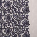 Tissu Dentelle et Broderie Bleu en Polyester, Viscose pour Robe de cérémonie, Robe de soirée.
