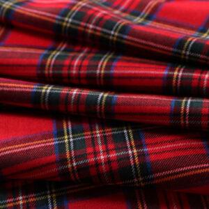 Red Wool Tartan Tartan - Madras fabric for Dress, Pants, Skirt.