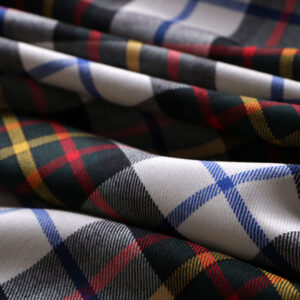 White Wool Tartan Tartan - Madras fabric for Dress, Pants, Skirt.