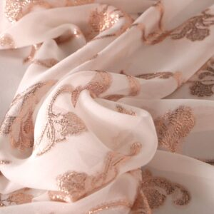 Pink, White Polyester, Silk Abstract Jacquard fabric for Dress, Party dress, Shirt.