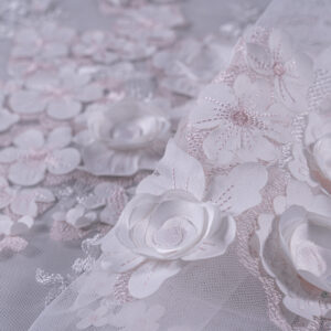Pink, White Polyester Flowers Laces-Embroidery fabric for Wedding dress.