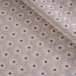 Beige Cotton, Polyester Geometric Jacquard fabric for Dress, Jacket, Light Coat, Pants.