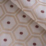 Tessuto Jacquard Geometrico Beige in Cotone, Poliestere per Abito, Giacca, Pantalone, Spolverino.