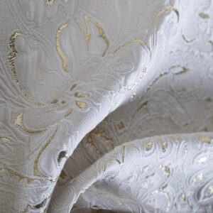 White Polyester, Silk Flowers Jacquard fabric for Ceremony Dress.