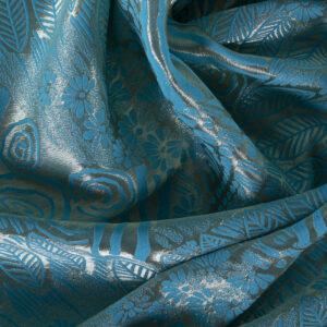 Blue Cotton, Polyester, Silk, Viscose Geometric Jacquard fabric for Ceremony Dress, Party dress.