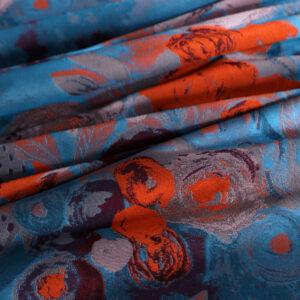Blue, Orange Polyester Flowers Jacquard fabric for Dress, Jacket, Light Coat, Skirt.