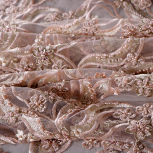 Pink Polyester Flowers Laces-Embroidery fabric for Ceremony Dress, Party dress.