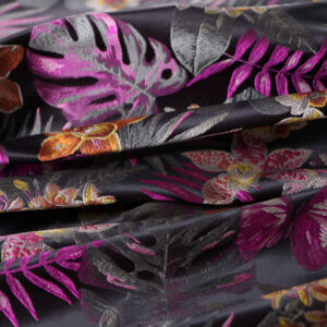 Fuxia, Green, Yellow Polyester Flowers Jacquard fabric for Dress, Jacket, Light Coat, Skirt.