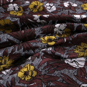 Beige, Brown Polyester, Silk, Wool Flowers Jacquard fabric for Jacket, Light Coat.