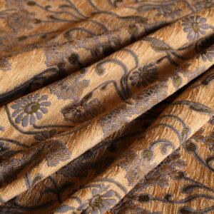 Tissu Jacquard Fleurs Jaune en Coton, Polyester, Soie, Viscose pour Veste, Veste-Manteau légère.