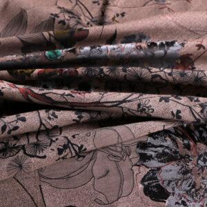 Brown Polyester, Silk, Wool Flowers Jacquard fabric for Dress, Light Coat, Skirt.