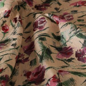 Beige, Pink Polyester, Silk Flowers Jacquard fabric for Ceremony Dress, Jacket, Light Coat, Skirt.