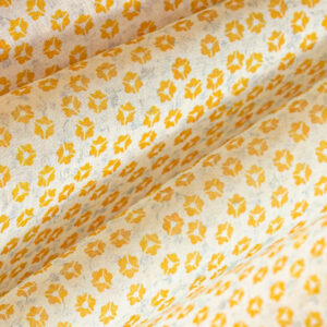 Yellow Cotton Muslin Flowers Print fabric for Shirt.