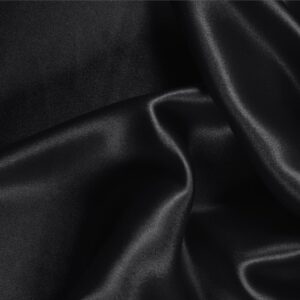 Black Silk Crêpe Satin Plain fabric for Ceremony Dress, Dress, Party dress, Shirt, Skirt, Underwear.
