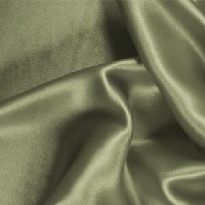 Oliva Green Silk Crêpe Satin Plain fabric for Ceremony Dress, Dress, Party dress, Shirt, Skirt, Underwear.