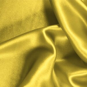 Primrose Yellow Silk Crêpe Satin Plain fabric for Ceremony Dress, Dress, Party dress, Shirt, Skirt, Underwear.