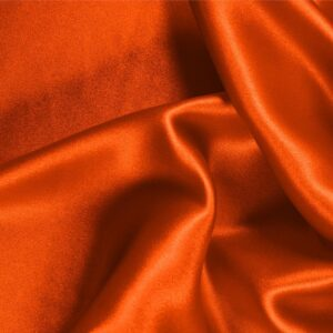 Corallo Orange Silk Crêpe Satin Plain fabric for Ceremony Dress, Dress, Party dress, Shirt, Skirt, Underwear.