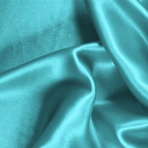 Wave Blue Silk Crêpe Satin Plain fabric for Ceremony Dress, Dress, Party dress, Shirt, Skirt, Underwear.