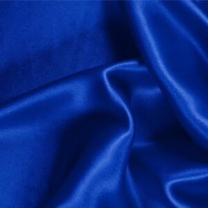 Elettrico Blue Silk Crêpe Satin Plain fabric for Ceremony Dress, Dress, Party dress, Shirt, Skirt, Underwear.