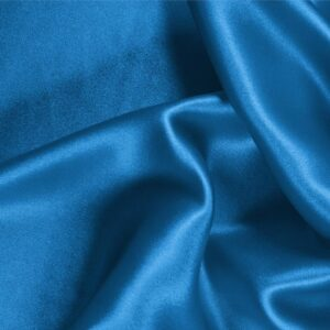Portofino Blue Silk Crêpe Satin Plain fabric for Ceremony Dress, Dress, Party dress, Shirt, Skirt, Underwear.
