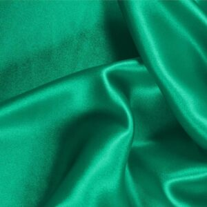 Bandiera Green Silk Crêpe Satin Plain fabric for Ceremony Dress, Dress, Party dress, Shirt, Skirt, Underwear.