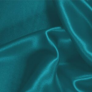 Turchese Blue Silk Satin Stretch Plain fabric for Ceremony Dress, Dress, Party dress, Shirt, Underwear.
