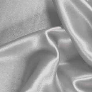 Pearl Silver Silk Satin Stretch Plain fabric for Ceremony Dress, Dress, Party dress, Shirt, Underwear.