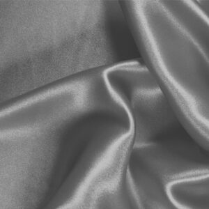Alluminio Gray Silk Satin Stretch Plain fabric for Ceremony Dress, Dress, Party dress, Shirt, Underwear.