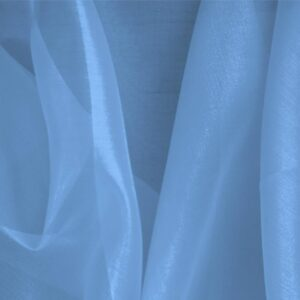 Capri Blue Silk Organza Plain fabric for Ceremony Dress, Dress, Party dress, Shirt.