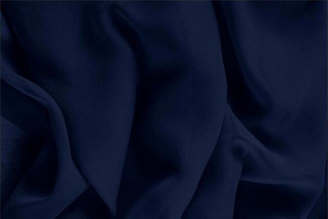 Tessuto Unito Georgette Blu Navy in Seta per Abito, Abito da Cerimonia, Abito da Sera, Camicia, Lingerie.