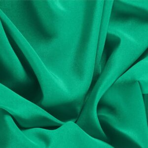 Bandiera Green Silk Crêpe de Chine Plain fabric for Dress, Shirt, Underwear.